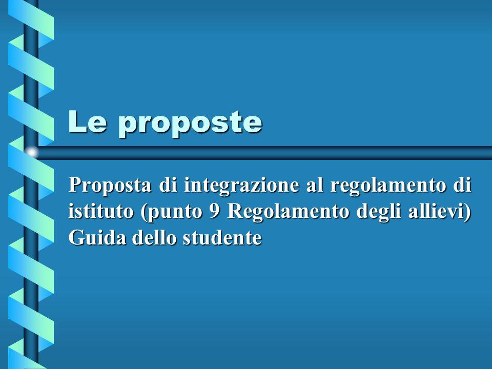 Le proposte Proposta di integrazione al regolamento di istituto (punto 9 Regolamento degli allievi) Guida dello studente.