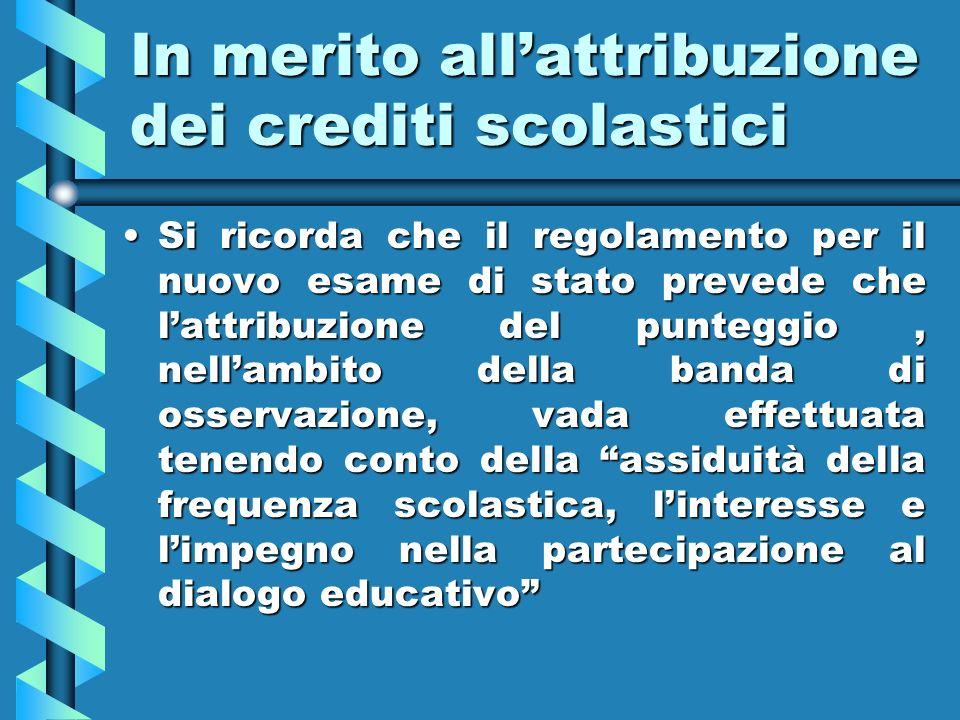 In merito all'attribuzione dei crediti scolastici
