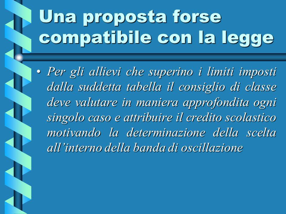 Una proposta forse compatibile con la legge