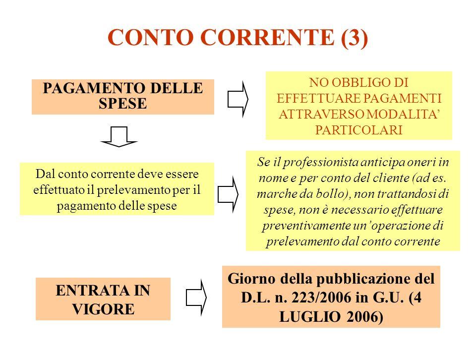 NO OBBLIGO DI EFFETTUARE PAGAMENTI ATTRAVERSO MODALITA' PARTICOLARI