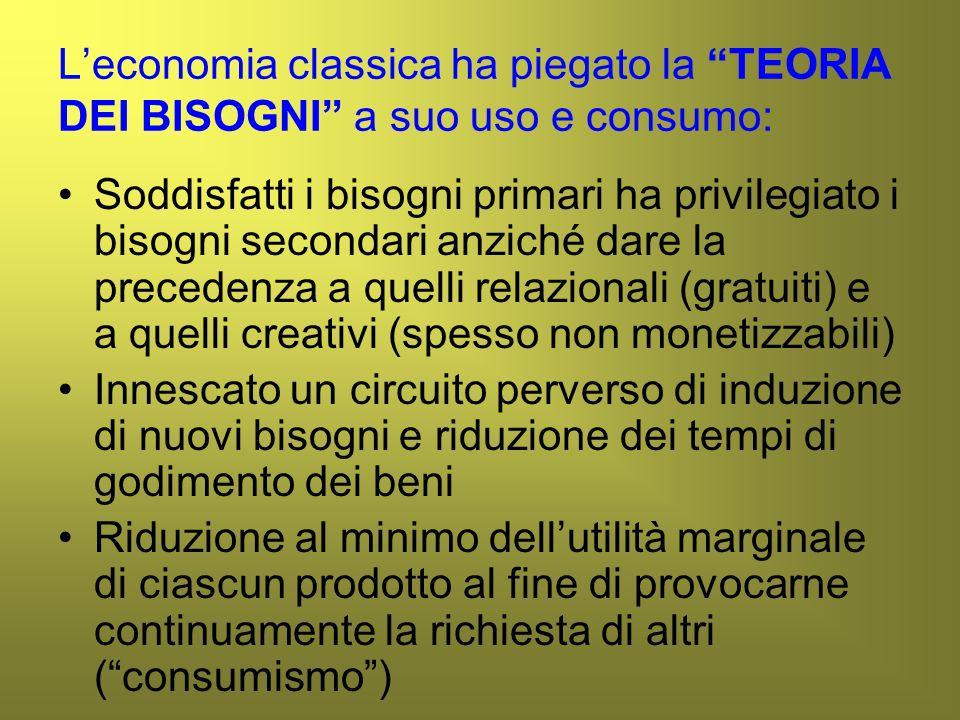 L'economia classica ha piegato la TEORIA DEI BISOGNI a suo uso e consumo: