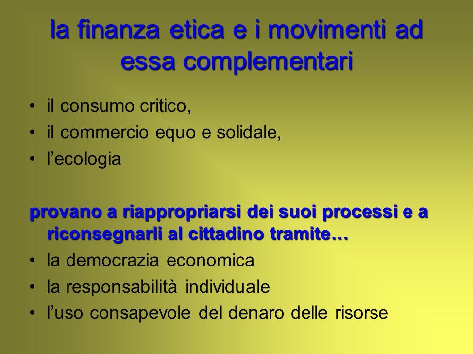la finanza etica e i movimenti ad essa complementari