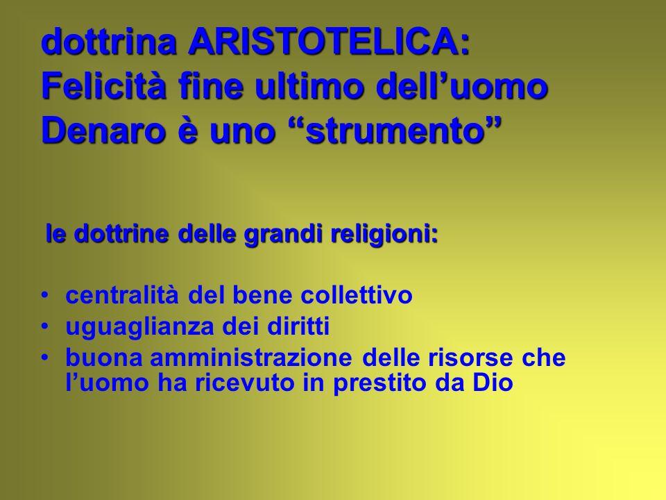 dottrina ARISTOTELICA: Felicità fine ultimo dell'uomo Denaro è uno strumento