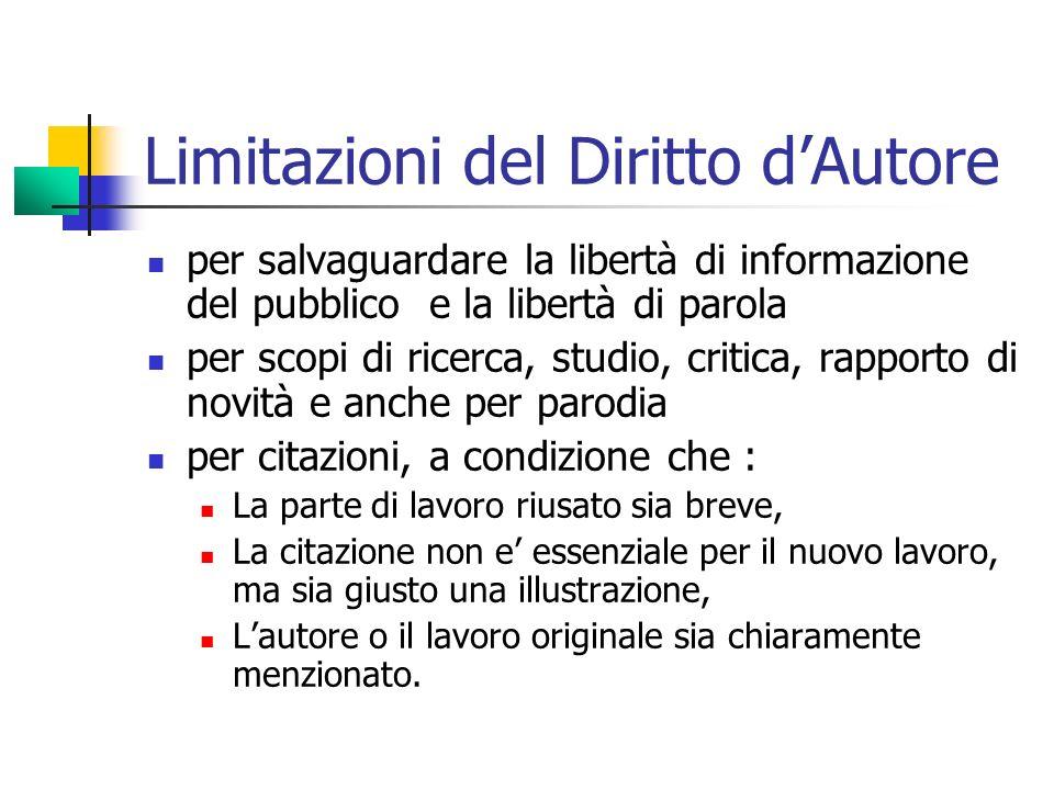 Limitazioni del Diritto d'Autore