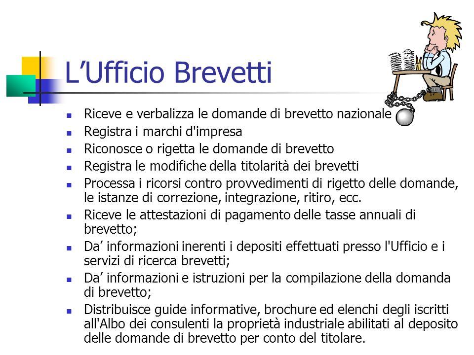 L'Ufficio Brevetti Riceve e verbalizza le domande di brevetto nazionale. Registra i marchi d impresa.