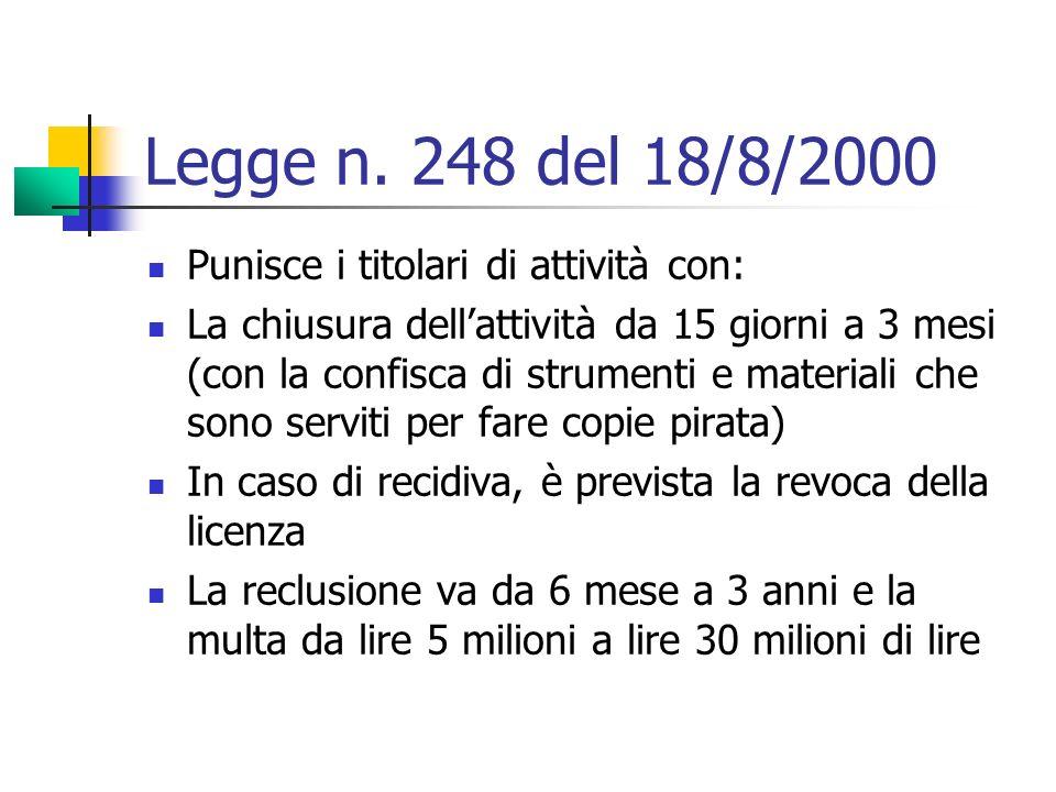Legge n. 248 del 18/8/2000 Punisce i titolari di attività con: