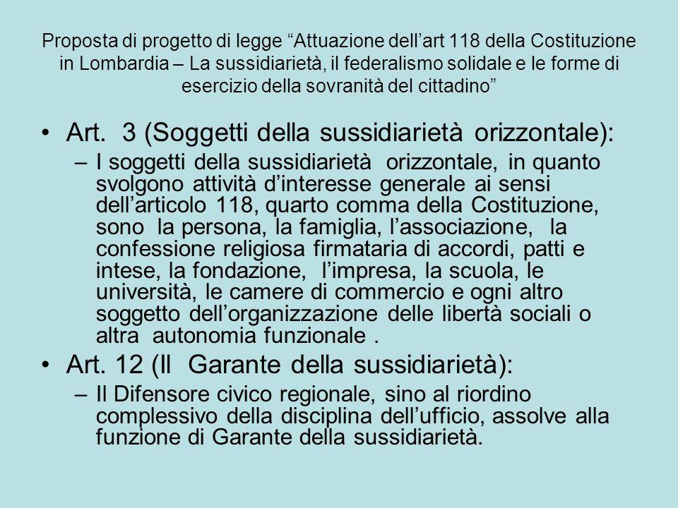 Art. 3 (Soggetti della sussidiarietà orizzontale):