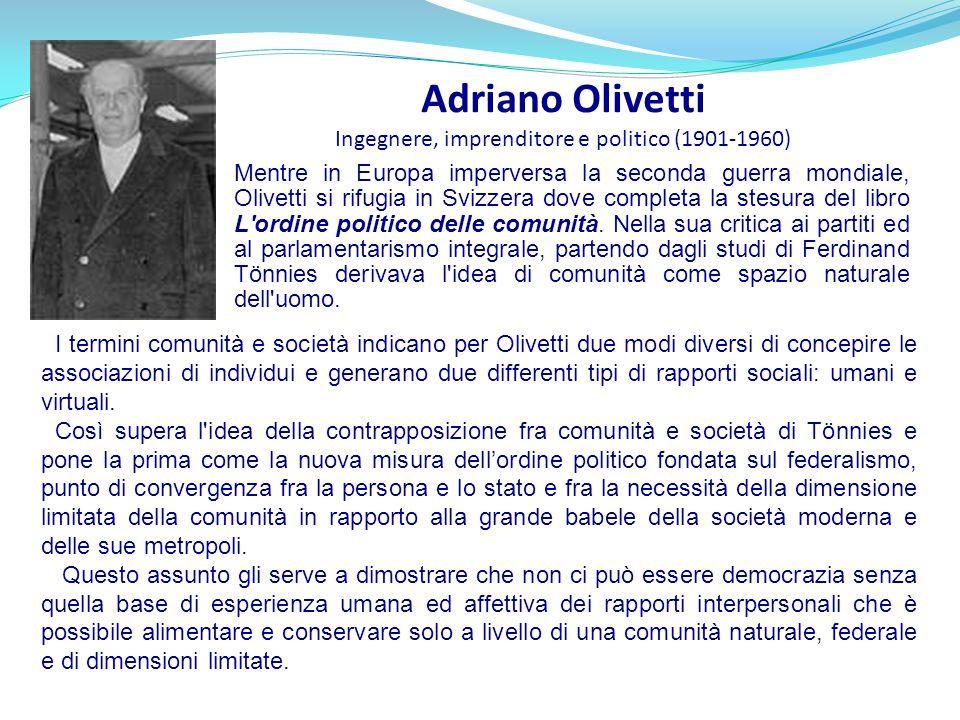 Adriano Olivetti Ingegnere, imprenditore e politico (1901-1960)