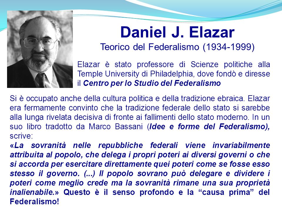 Daniel J. Elazar Teorico del Federalismo (1934-1999)