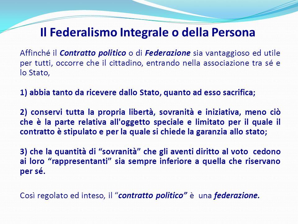 Il Federalismo Integrale o della Persona