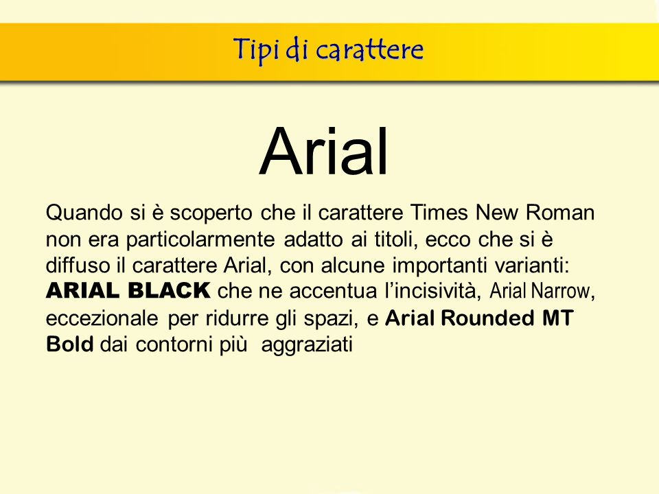 Arial Tipi di carattere