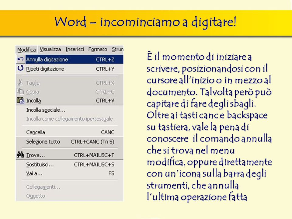 Word – incominciamo a digitare!
