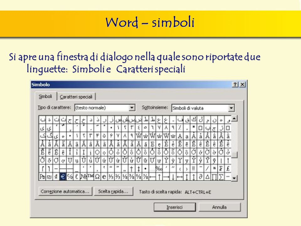 Word – simboliSi apre una finestra di dialogo nella quale sono riportate due linguette: Simboli e Caratteri speciali.