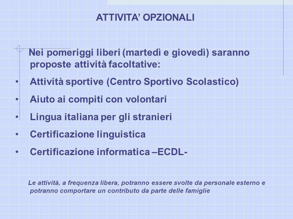 Attività sportive (Centro Sportivo Scolastico)