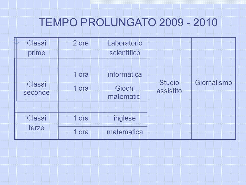 TEMPO PROLUNGATO 2009 - 2010 Classi prime 2 ore Laboratorio