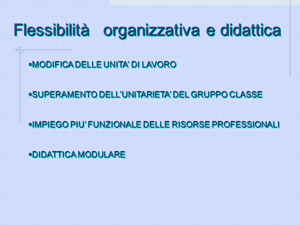 Flessibilità organizzativa e didattica