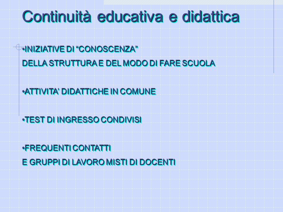 Continuità educativa e didattica