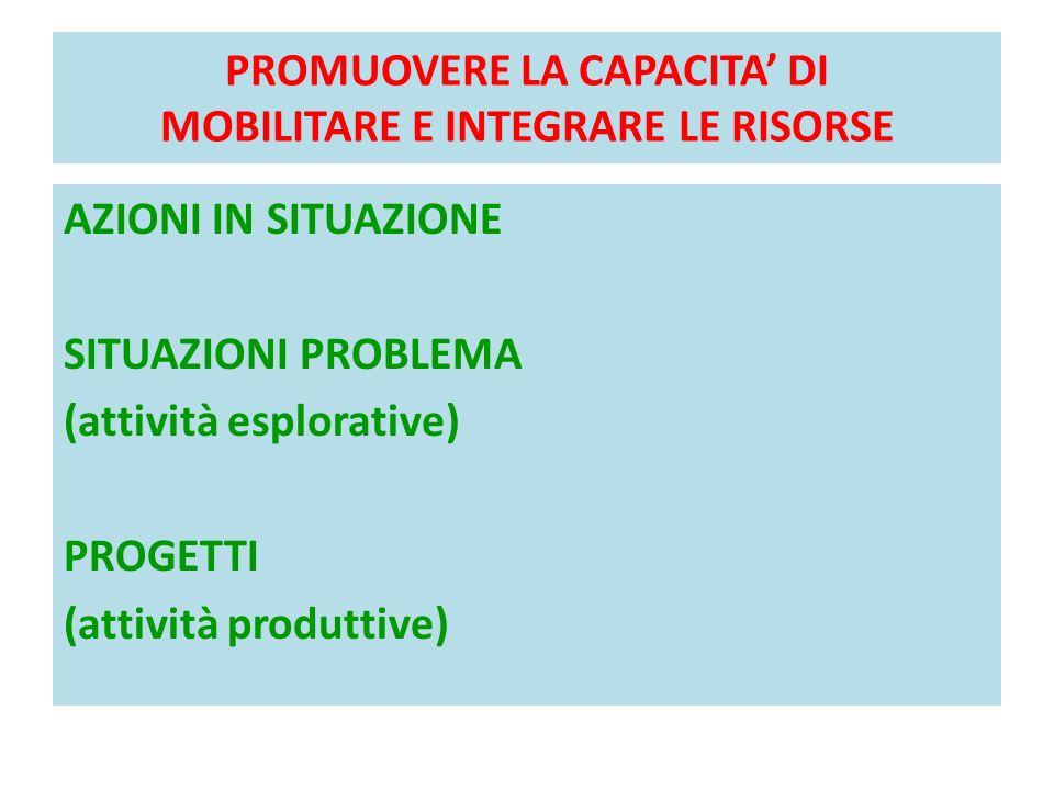 PROMUOVERE LA CAPACITA' DI MOBILITARE E INTEGRARE LE RISORSE