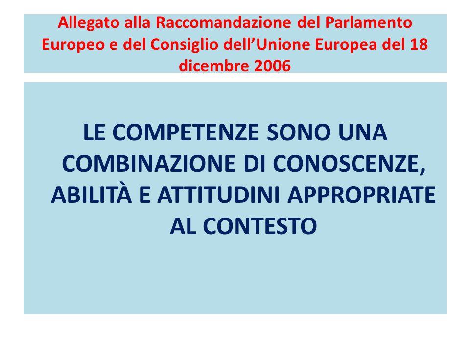 Allegato alla Raccomandazione del Parlamento Europeo e del Consiglio dell'Unione Europea del 18 dicembre 2006