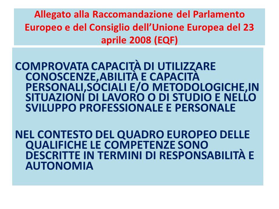 Allegato alla Raccomandazione del Parlamento Europeo e del Consiglio dell'Unione Europea del 23 aprile 2008 (EQF)