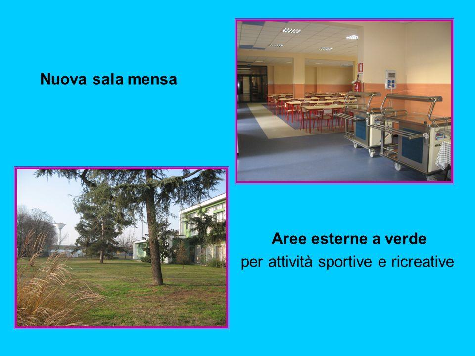 Nuova sala mensa Aree esterne a verde per attività sportive e ricreative