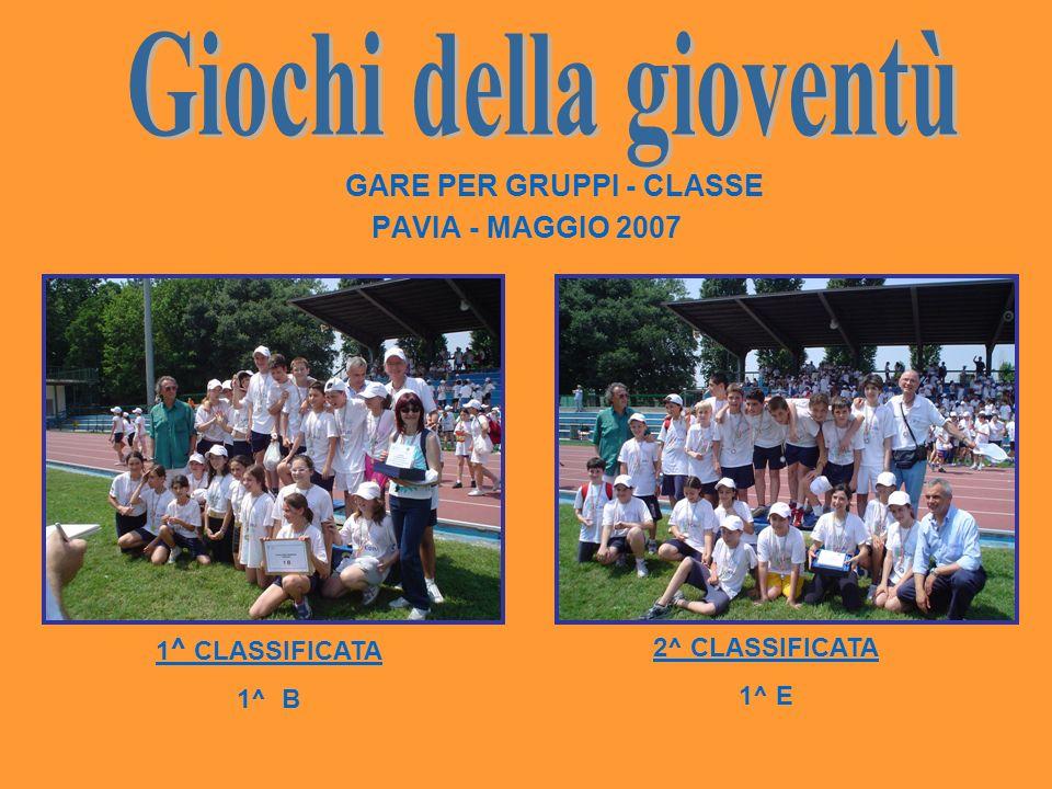 Giochi della gioventù GARE PER GRUPPI - CLASSE PAVIA - MAGGIO 2007