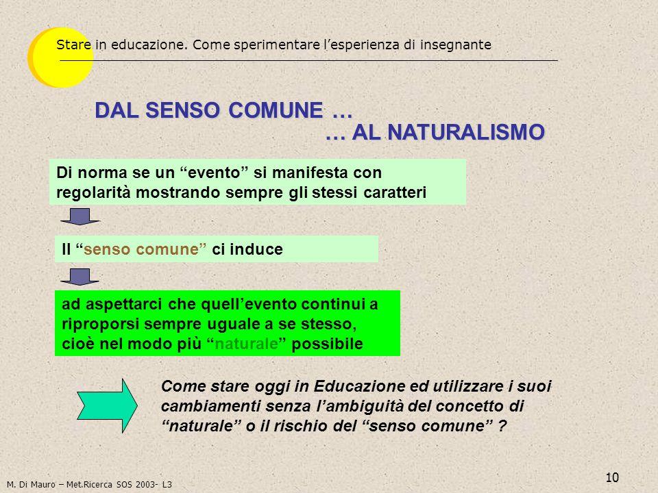 DAL SENSO COMUNE … … AL NATURALISMO