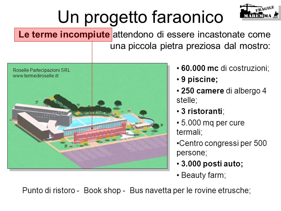 Punto di ristoro - Book shop - Bus navetta per le rovine etrusche;