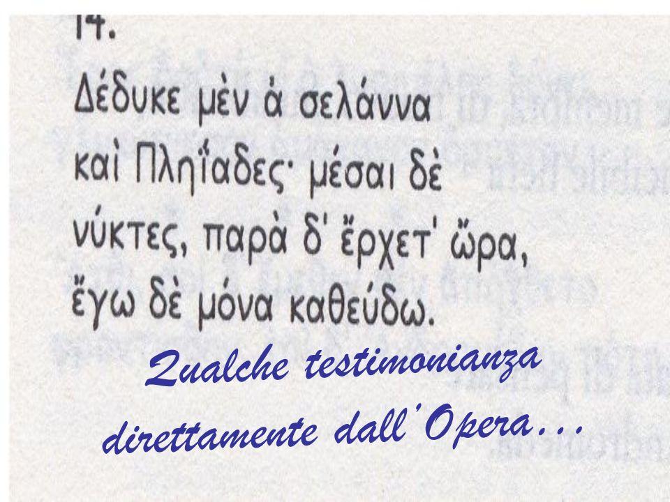 Qualche testimonianza direttamente dall'Opera…