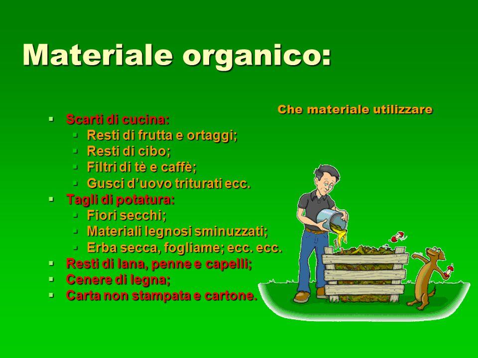 Materiale organico: Scarti di cucina: Resti di frutta e ortaggi;