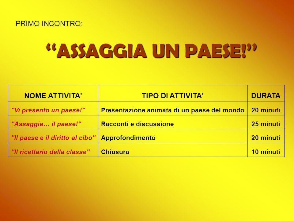 ''ASSAGGIA UN PAESE!'' PRIMO INCONTRO: NOME ATTIVITA