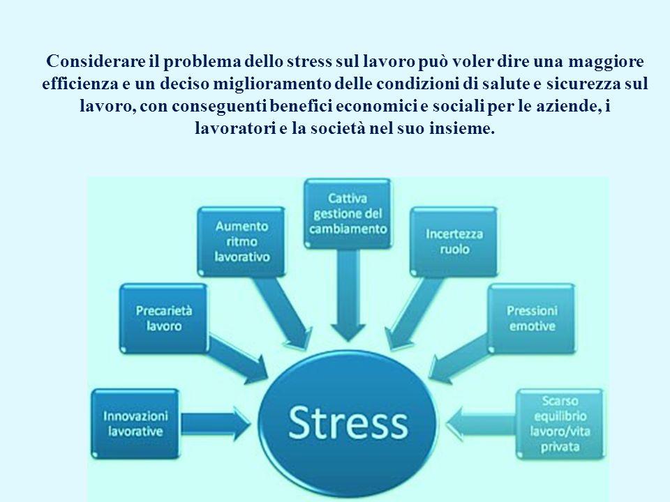 Considerare il problema dello stress sul lavoro può voler dire una maggiore efficienza e un deciso miglioramento delle condizioni di salute e sicurezza sul lavoro, con conseguenti benefici economici e sociali per le aziende, i lavoratori e la società nel suo insieme.