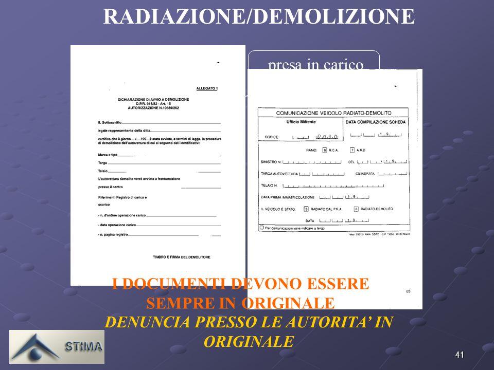RADIAZIONE/DEMOLIZIONE I DOCUMENTI DEVONO ESSERE SEMPRE IN ORIGINALE