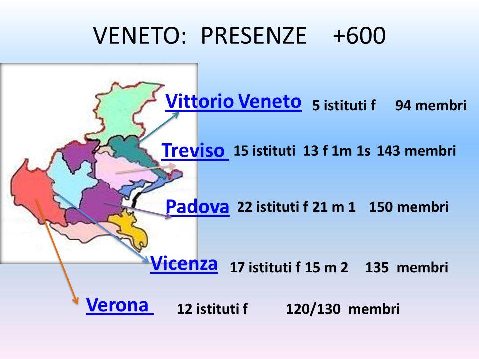 VENETO: PRESENZE +600 Vittorio Veneto Treviso Padova Vicenza Verona