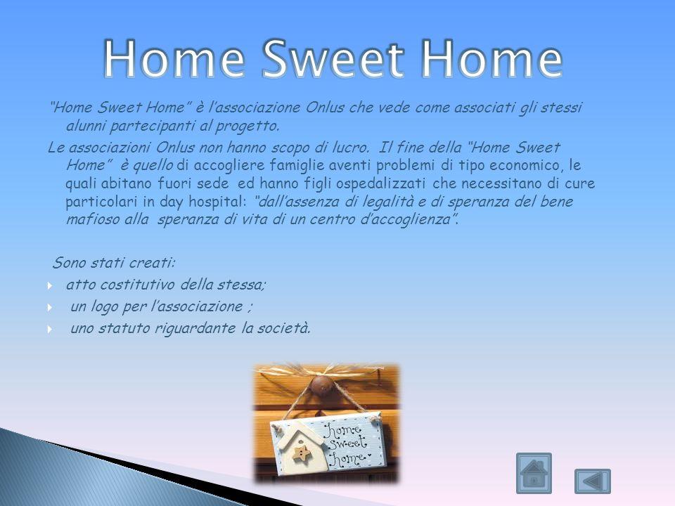 Home Sweet Home Home Sweet Home è l'associazione Onlus che vede come associati gli stessi alunni partecipanti al progetto.