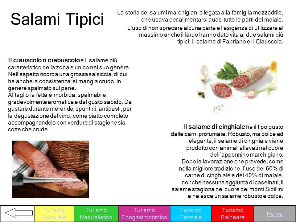 Salami Tipici La storia dei salumi marchigiani e legata alla famiglia mezzadrile, che usava per alimentarsi quasi tutte le parti del maiale.