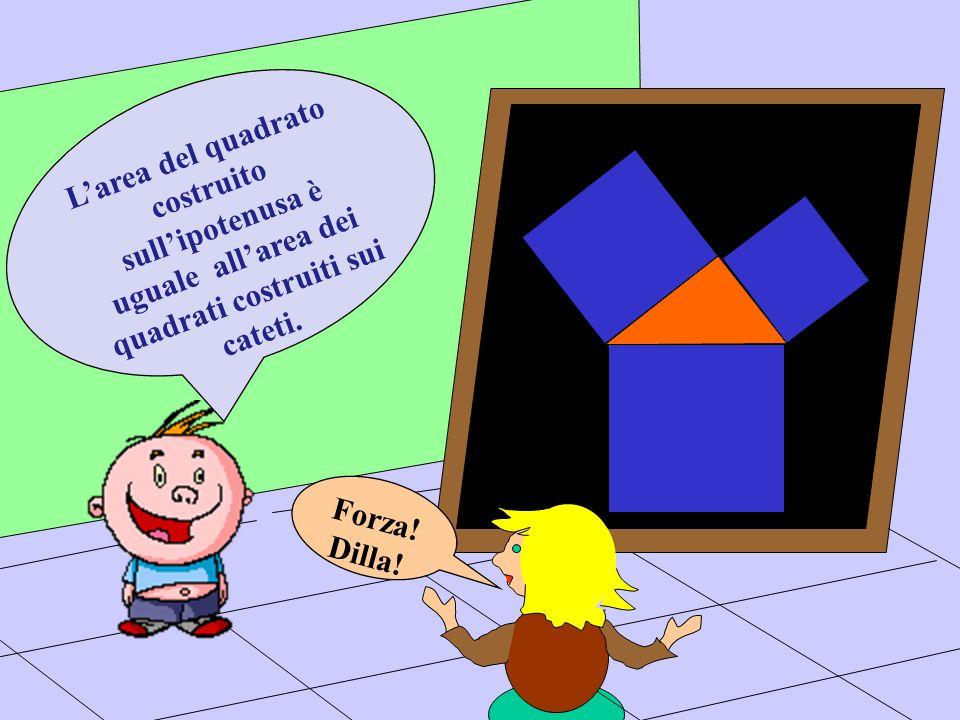 L'area del quadrato costruito sull'ipotenusa è uguale all'area dei quadrati costruiti sui cateti.