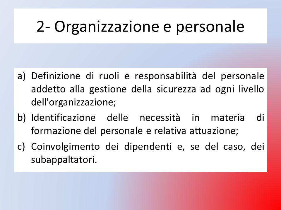 2- Organizzazione e personale