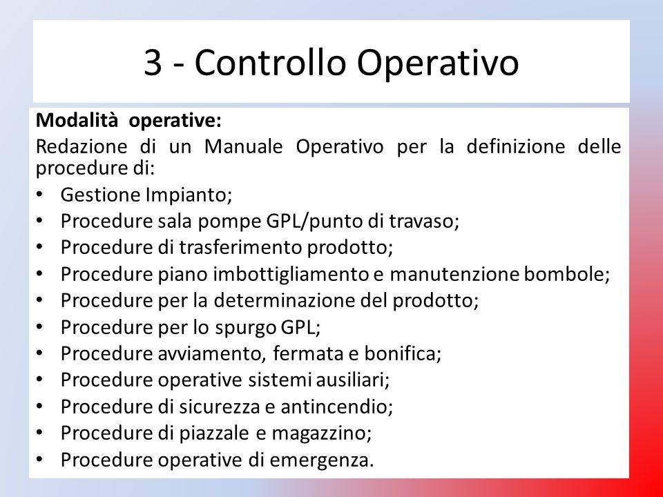 3 - Controllo Operativo Modalità operative: