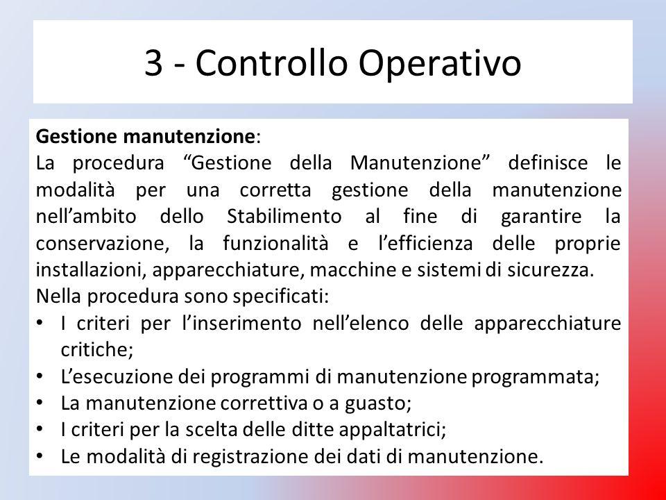3 - Controllo Operativo Gestione manutenzione: