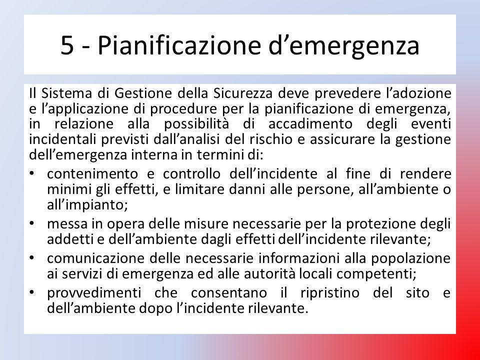 5 - Pianificazione d'emergenza