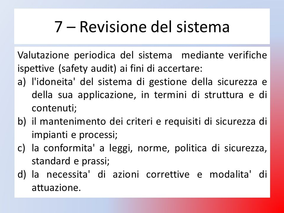 7 – Revisione del sistema