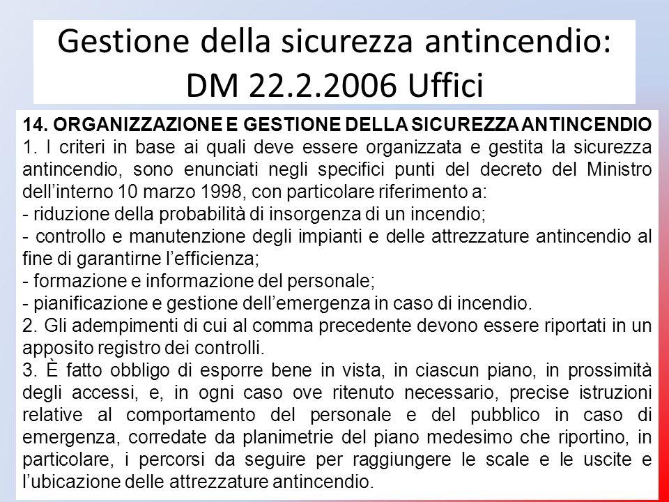 Gestione della sicurezza antincendio: DM 22.2.2006 Uffici