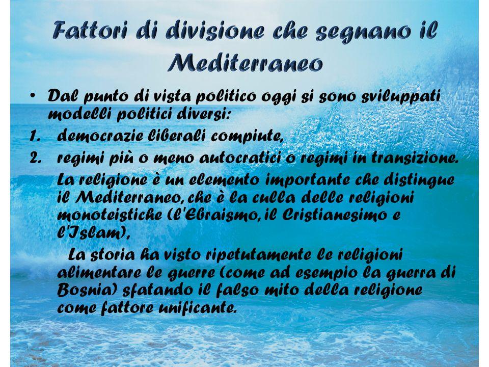 Fattori di divisione che segnano il Mediterraneo