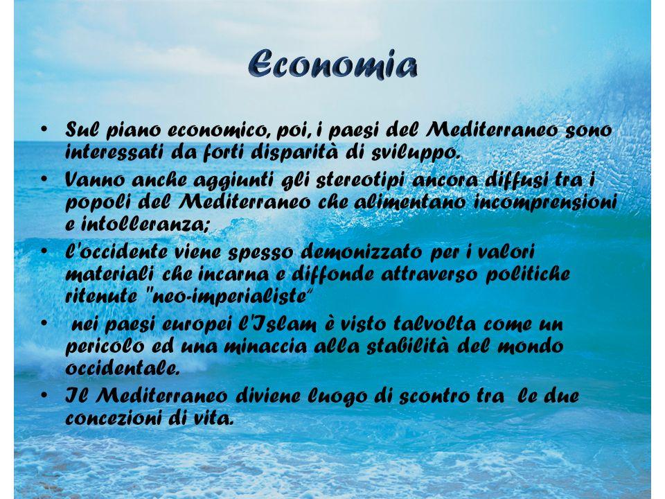 Economia Sul piano economico, poi, i paesi del Mediterraneo sono interessati da forti disparità di sviluppo.
