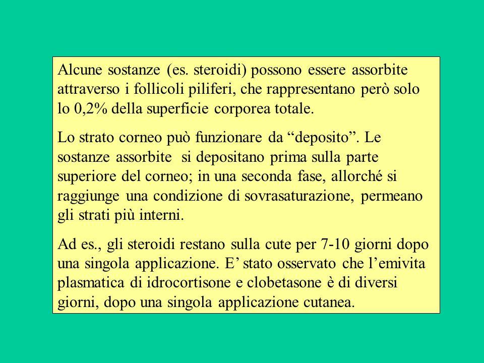 Alcune sostanze (es. steroidi) possono essere assorbite attraverso i follicoli piliferi, che rappresentano però solo lo 0,2% della superficie corporea totale.