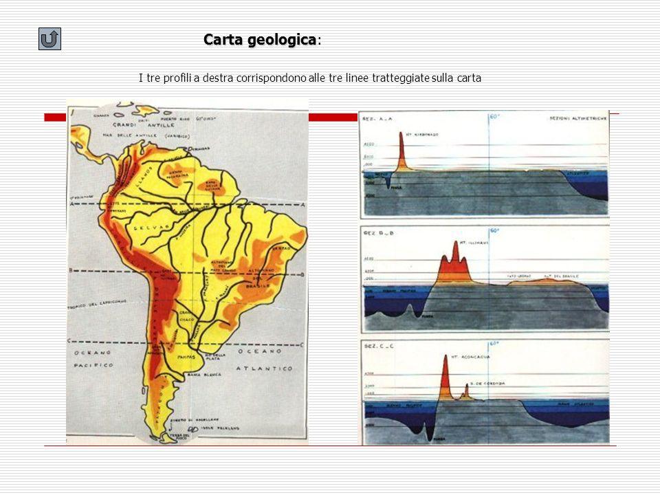 Carta geologica: I tre profili a destra corrispondono alle tre linee tratteggiate sulla carta