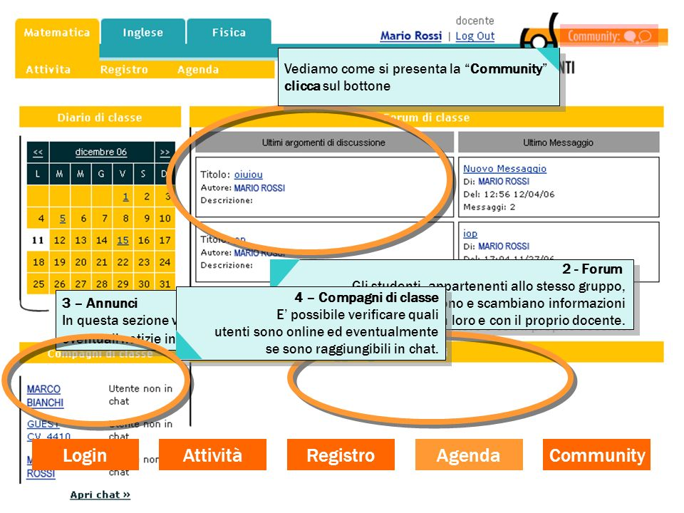 Login Attività Registro Agenda Community
