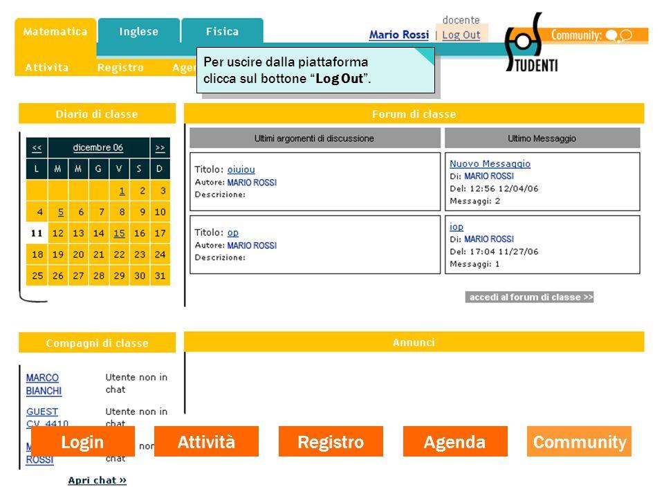 Login Attività Registro Agenda Community Per uscire dalla piattaforma