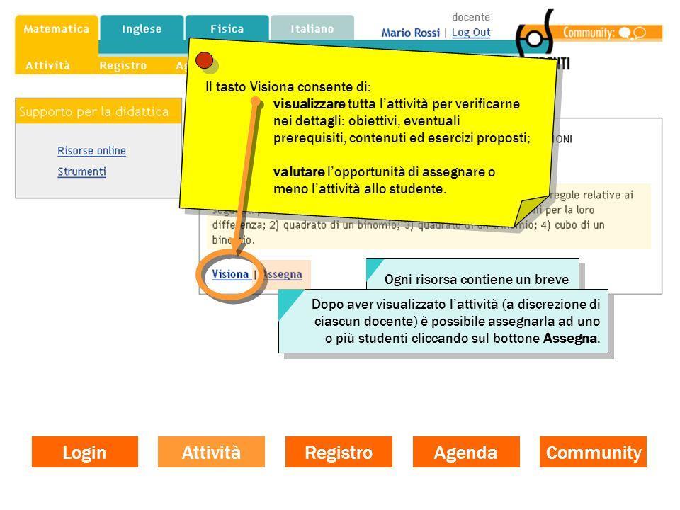 Login Attività Registro Agenda Community Il tasto Visiona consente di: